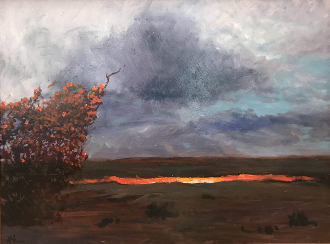 "Hamilton Kobayashi, ""Illuminated Ohi'a at Kilauea Caldera"", 2018, Oil on Board"